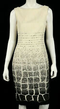 GIAMBATTISTA VALLI Ivory & Black Ombre Croc Jacquard Sheath Dress 40