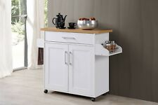 WHITE Wood Rolling Kitchen Island Butcher Block Table Cart Wheel Serving Buffet