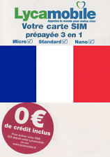 NEW, Lycamobile, French, Trio sized prepaid SIM card pack for using in FRANCE.
