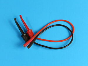 20cm Silicone Leads with 2mm Gold Plated Sockets and Mini Grabber Hooks (Pair)
