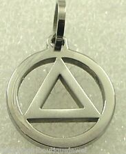 Sobriety Circle Triangle Stainless Steel Necklace 12 Step AA Symbol Serenity