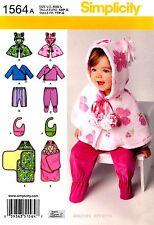 Simplicity Pattern 1564 Baby clothes XXS-L Top Pants Capelet Bib Blanket wrap