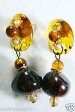 VTG Honey & Cherry Amber  dangle Drop Earrings