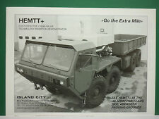 8/06 PUB ISLAND CITY SCHOFIELD HEMTT US ARMY MILITARY TRUCK TRACTOR ORIGINAL AD
