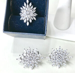 Stauer Stella Marquise DIAMOND AURA Earrings Ring Set Size 6.25 Sterling Silver