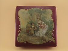 Boîte Drageoir Carton Bouilli NAPOLEON III Peinte Scène Romantique Marquise  XIX