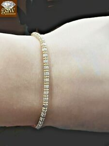 "Real 10K Yellow Gold Diamond Cuts Unique Ladies Bracelet 8"" Inch"