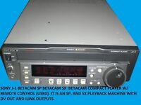 SONY J-1 BETACAM SP BETACAM SX  BETACAM COMPACT PLAYER W/ REMOTE CONTROL (USED)