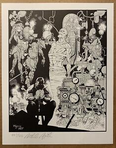 Mike Mignola Signed Print Frankenstein Monster  Hellboy Poster Bernie Wrightson
