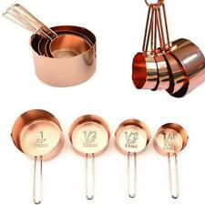8 Pcs/set Stainless Steel Copper Plated Kitchen Measuring Cups For-Coffee T9S1