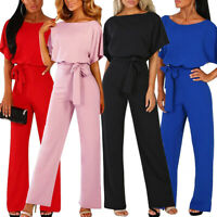 Womens Summer Plain Holiday Belted Jumpsuits Playsuits Beach Wide LWg Long Pants