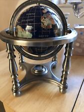 More details for world globe with semi precious stone inlay with metal stand compass cartography