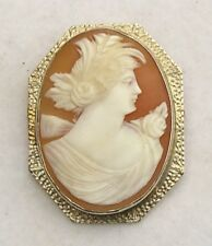 Pin Classical Greek Bust of Woman New listing 14K Yellow Gold Cameo Brooch