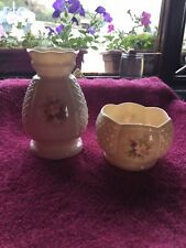 Irish Parian Donegal China Vase And Bowl