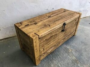 Rustic Reclaimed Solid Wood Blanket Box/ Ottoman/ Trunk/ Chest/ Coffee Table 4ft