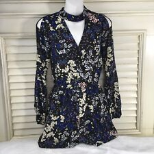 Material Girl Size S Floral Romper Slit Long Sleeves Back Zipper Elastic Waist