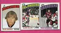 1976-77 OPC CLARK GILLIES + CAMPBELL + RISEBROUGH 2ND YEAR CARD  (INV# A8860)