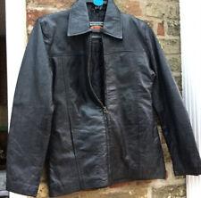 Ladies Soft Black Leather Zip Up Jacket Biker Size 12