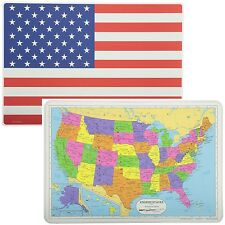 Painless Learning Educational Placemats USA Map And American Flag Set Non Slip