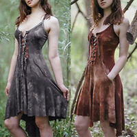 Women Gothic Lace Up Steampunk Dress Halloween Cosplay Party Costume Dress