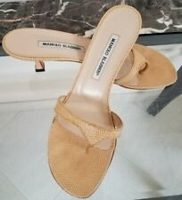 Manolo Blahnik neutral/buff Lizard Thong Strappy Sandals Shoes 39