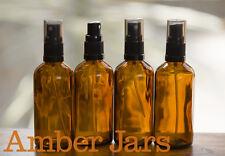 4 x 100ml Glass Amber Bottles / Spray Bottle - Aromatherapy Spritzer, FREE POST