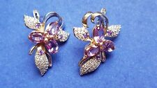 Russian solid rose white gold 585/14k AMETHYST and CZ Orchid earrings
