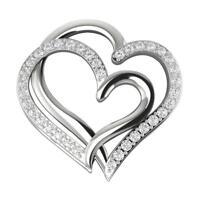 Heart Pendant Necklace VS1 E 0.40 Ct Real Diamond White Gold Appraisal 0.80Inch