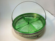 Vintage Green Depression Glass 4 Compartment Serving Dish Footed Holder w/Handle