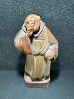 Antique Swiss Carved Wood Laughing Friar Man, Unique, Excellent
