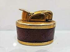 Vintage Working Evans Gold Tone & Leather Wrapped Lighter / RARE 1475.34