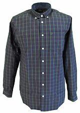 Farah Green Tea Checked Long Sleeved Cotton Retro Mod Button Down Shirts