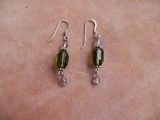 Faceted Swavorski Green, Iridescent Clear beads & Sterling Silver Earrings
