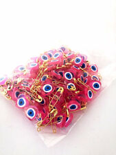 Turkish Evil Eye pink Beads Heart Safety Pins New Born Baby  Safety Pins 100 PCS