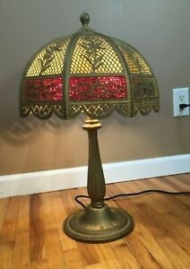 **Vintage Antique BRADLEY & HUBBARD SLAG GLASS LAMP TEXTURED RED NOUVEAU