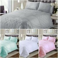 BELMONT PIN TUCK 100% EGYPTIAN COTTON DUVET COVET SET SINGLE DOUBLE KING SIZES