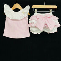 Gorgeous Baby Girl Spanish Pink Candy Stripe Big Collar Bloomer Set Shirt Outfit