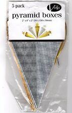 "5 Pyramid Gift Boxes 6"" x 2 x 2 Silver Gold Metallic Christmas Holiday Snowflake"