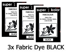 3 x BLACK Fabric Dye for Clothes Cotton +