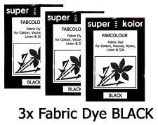3 x Fabric Clothes Dye BLACK Hand dye for Cotton, Viscose, Nylon, Linen & Silk