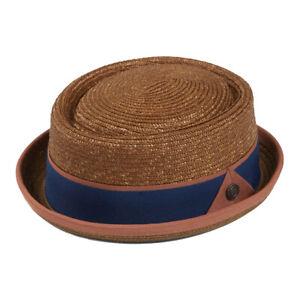 OSCAR Men's Summer Retro Dapper Wheat Straw Porkpie Pork Pie Rude Boy Hat