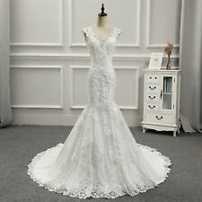 Mermaid Wedding Dresses Bridal Gowns Cap Sleeves Lace Beading V Neck Appliques