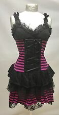 Gothic Punk Short Dress With Pink Striped Sm