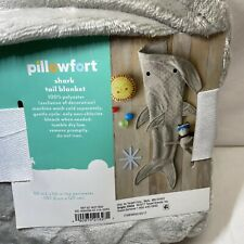 Pillowfort Shark Tail Fleece Blanket 66x50 (167.6cm X 127cm) Boys/girls Gray NEW