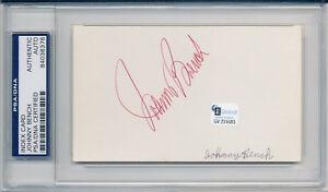 JOHNNY BENCH Signed Index Card Reds HOF MVP PSA/DNA w/ELIZABETH GORCEY Footloose