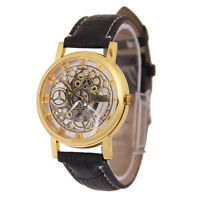 Luxury Automatic Roman Steampunk Gear Leather Band Mens Dress Mechanical Watch