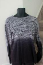 Kenneth Cole New York Mens Sweater Grey Black Cotton Stretch Long Sleeve Size XL