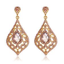 New Design Golden Yellow Crystal Drop Wedding Party Women Lady Earring Ear Ba019