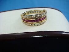 18K YELLOW GOLD UNIQUE RUBY, SAPPHIRES AND DIAMONDS REVERSIBLE LADIES BAND
