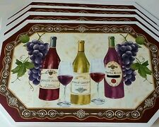 NEW Set 4 Vinyl Kitchen Placemats Wine Bottle Glass Fruit Grapes Pinot 12x18